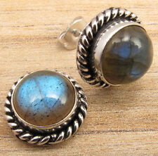 NATURAL FIRE LABRADORITE GEMS FASHION JEWELRY STUD EARRINGS ! 925 Silver Plated