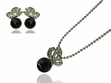 Black Pearls & Silver Butterflies Jewellery Set Earrings Studs Necklace S216