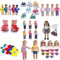 Doll Summer T-shirt Pants Shoes Dress Accessories For 18inch Clothes Gifts B2Y8