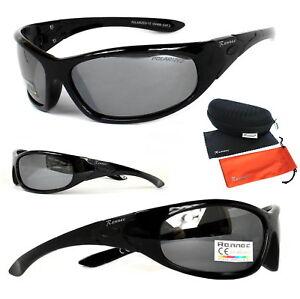Rennec Sport Sonnenbrille Polarisiert Schwarz Silber Verspiegelt Biker P73 Box