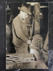 Mint Canada RPPC Postcard Industrial Factory Worker Grinder