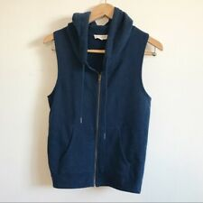 Synergy Organic Clothing Vest Small Hooded Zip Front Blue Organic Cotton