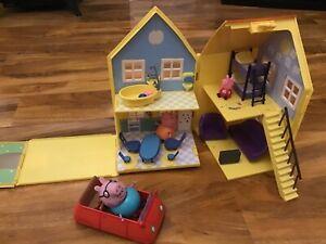 PEPPA PIG HOUSE BUNDLE  FIGURES TOY PLAY SET CAR