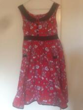 Rockabilly Hell Bunny dress size 8/S empire waist red with black/white print