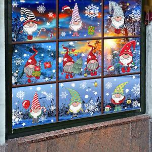 4PCS Christmas Window Clings Holiday Xmas Snowflake Sticker Santa Claus Gift