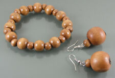 CHUNKY BRACELET AND DROP EARRING SET WITH MID DARK BROWN WOODEN STATEMENT BEADS