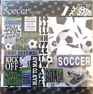 """The Paper Studio, Soccer Scrapbooking Page Kit with Stickers, 12""""x12"""" paper"""