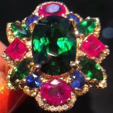 6Ct Oval Emerald Ruby Sapphire Simulnt Diamond Engagement Ring Silver Gold Finsh