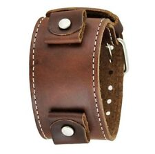 Nemesis Brown Wide XL Leather Cuff Watch Band 24mm LBB-B