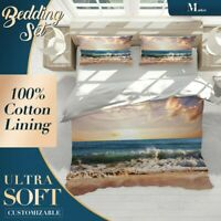 Sunset Ocean Beach Brown Quilt Cover Single Bed Double Queen King Size