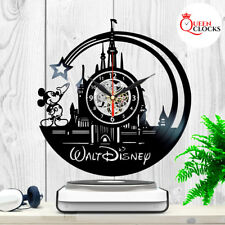 Walt Disney World Vinyl Clock Mickey Mouse Themed Gift Vintage Record Wall Decor
