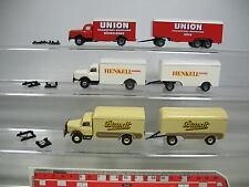 AF382-0,5# 3x Brekina H0 Trailer truck/LKW Henschel: Henkell+Union+Brandt, MINT