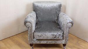 Steel Grey Crushed velvet Armchair - chrome castors