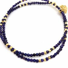 lapis lazuli & Gold Pyrites Wrap Bracelet, Gold Overlay On Sterling Silver. New.