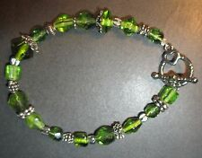 Green Faceted Glass Bead Molded Bracelet Silver Tone Heart Toggle Clasp New
