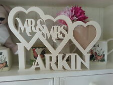 Personalised Wedding Gift Heart Frame Mr&Mrs Picture Engraved Photo Wood Name