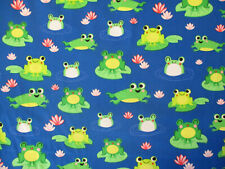 Frogs Lily Pad Water Frog Green Yellow Blue Cotton Fabric Fq