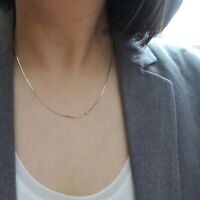 14k Yellow Gold Over Sterling Silver Thin Italian Round Snake Chain Necklace