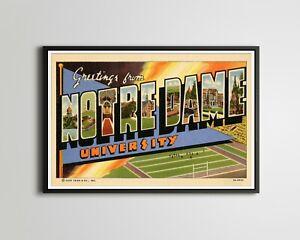 """NOTRE DAME University Large Letter Postcard POSTER! (up to 24"""" x 36"""") - Vintage"""