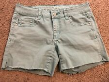 AMERICAN EAGLE OUTFITTERS Stretch Green Cut Off Denim Jean Shorts womens 4