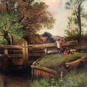 19thC Signed Antique Flemish / Dutch Landscape W Figures Children Pastoral Farm