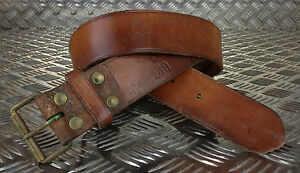 Genuine Swedish Army Unique Vintage Brown Leather Trouser Belt - All Sizes