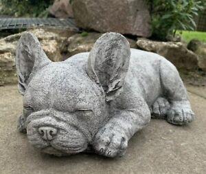 STONE GARDEN LYING FRENCHIE FRENCH BULLDOG DOG PUPPY ORNAMENT STATUE
