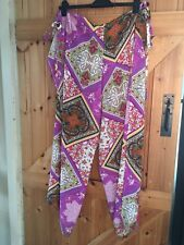 Fabulous Multi Coloured Hippie Trousers Tie Fastening Fits Approx Size 8 - 12