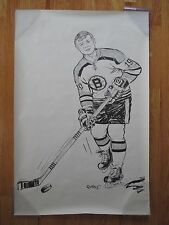 Rare 1971 Cartoonists Jim Dobbins John McKenzie Boston Bruins B&W Poster Nice