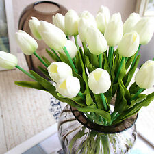 1x White Artificial Flase Tulip Fake Flowers Home Room Wedding Bridal Decoration