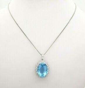 Ladies Platinum Necklace Natural Topaz & (0.89ct) Diamond Pendant Necklace