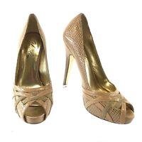 CHARLES by Charles David Women's Peep Toe High Heels 5 Inch Pumps Size 7M Tan
