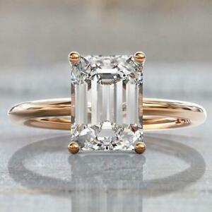 7.50 Ct Off White Diamond Ring In Emerald Cut With Rose Gold , Amazing Shine !