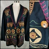 Passports Embroidered Native Aztec Jacket Womens size Large cotton beaded Blazer