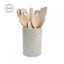 T&G Ville céramique ustensiles de cuisine Pot de rangement POT GRIS BLANC EN