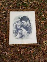 "Vintage Sandu Liberman Signed Young Lovers LithoPrint framed 31""x25"""
