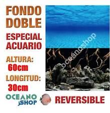 FONDO 60x30cm DOBLE CARA REVERSIBLE DECORATIVO ACUARIO MAR Y ROCAS NEGRO D418