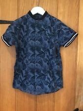 Next Lovely Boys Blue Floral Shirt Age 7yrs 100% Cotton