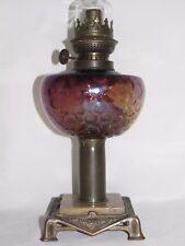 08D28 ANCIENNE LAMPE A PÉTROLE VERRE IRISE NID ABEILLE LOETZ KRALIK ART NOUVEAU