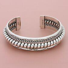 navajo sterling silver nora tahe vintage stamped coil cuff bracelet size 7