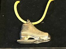 "Ice Skate TG108 English Pewter On 18"" Yellow Cord Necklace"