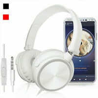 Bass Headphone Headset With Mic 3.5mm Wired Over Ear Stereo Earphone Foldable