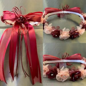 Flower Girl Wedding Toddler Girl Floral Rose Bud Princess Crown Hair Accessory