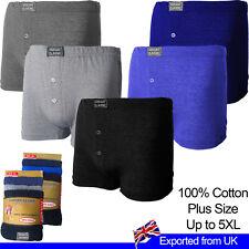 Mens Boxers Shorts Underwear 100% Cotton Plus Size Jersey Briefs 12 Pack 2 - 5XL