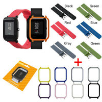 Silicone Wrist Strap PC Shell Cover For Xiaomi Huami Amazfit Bip Youth Watch