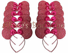 20 Minnie Mouse Ears Headbands Shimmer Shiny Pink Birthday Party Favors Costume