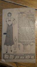 Antique DRESS PATTERN #2137 Sz 14, Dress 1930's