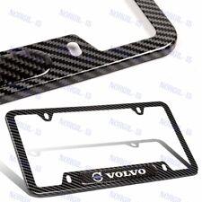 For New 2PCS VOLVO Black Stainless Steel Metal License Plate Frame Carbon Fiber