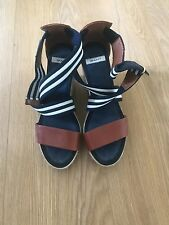 Women's GANT High Wedge Sandals Size UK 4 - Navy & White Stripes / Brown Leather