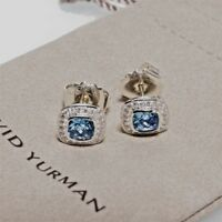 David Yurman Sterling Silver Petite Albion Earrings Blue Topaz & Diamond